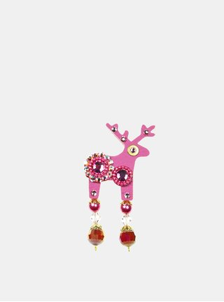 Ružová brošňa so zdobením Preciosa Components Deers