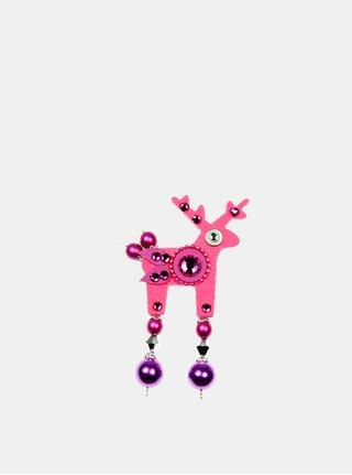 Neónovo ružová malá brošňa s brúseným zdobením Preciosa Components Deers