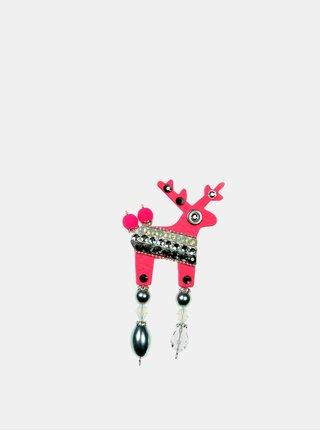 Neónovo ružová malá brošňa so zdobením prúžkov Preciosa Components Deers