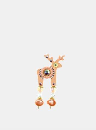 Marhuľová malá brošňa so stredovým zdobením Swarovski Crystals Deers
