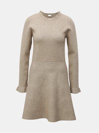 Béžové svetrové šaty s dlouhým rukávem VILA Livnia 017c8f8e4c3