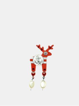 Červená malá brošňa s postriebrenou kotvou Preciosa Components Deers