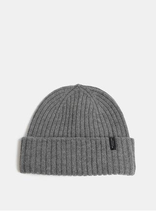 Sivá pletená vlnená zimná čiapka Selected Homme