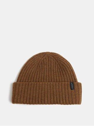 Hnedá pletená vlnená zimná čiapka Selected Homme