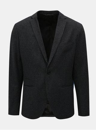 Sacou gri-negru in carouri cu amestec de lana Selected Homme