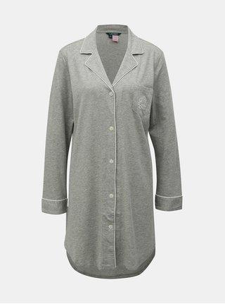 Sivá melírovaná nočná košeľa so zapínaním na gombíky Lauren Ralph Lauren