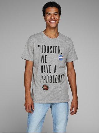 Svetlosivé tričko s potlačou Jack & Jones Nasa
