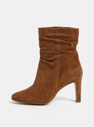 Hnědé semišové kotníkové boty na podpatku Högl