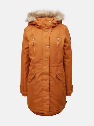 Oranžová zimní parka s umělým kožíškem na kapuci VERO MODA Track