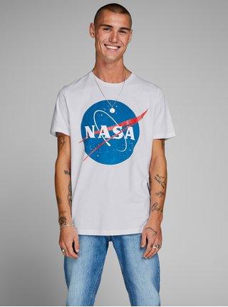 Biele tričko s potlačou Jack & Jones Nasa