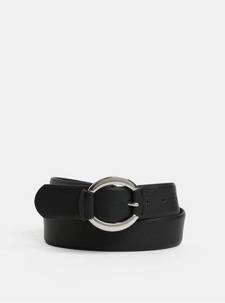 Černý pásek se sponou ve stříbrné barvě Pieces Kaija