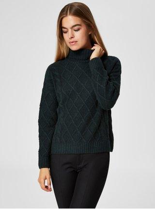 Tmavozelený oversize sveter s rolákom a s prímesou vlny Selected Femme Carmi