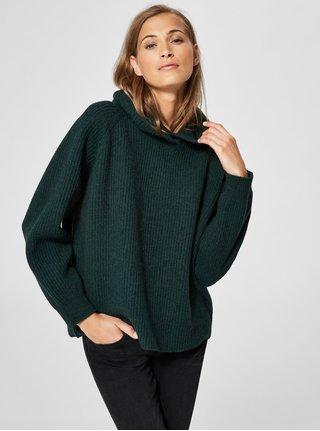 Tmavozelený oversize vlnený sveter s kapucňou Selected Femme Kenna