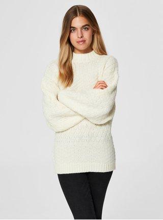 Krémový oversize sveter s prímesou vlny Selected Femme Hilla