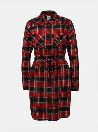 Černo-červené kostkované košilové šaty s výšivkou ONLY Mabel