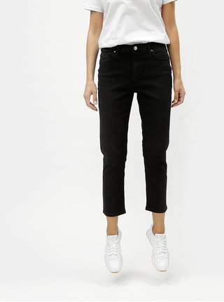 Černé zkrácené džíny s vysokým pasem Dorothy Perkins