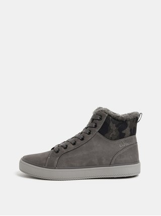 Sivé dámske členkové zimné topánky s umelou kožušinkou s.Oliver