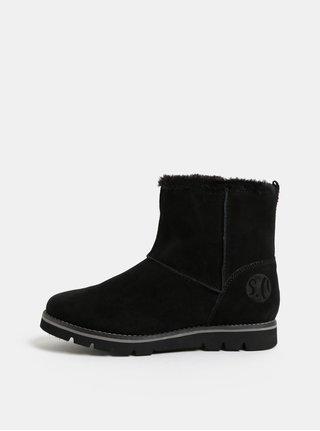 Černé dámské semišové zimní boty s umělým kožíškem s.Oliver 87fe81a76c