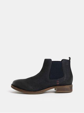 Tmavě modré kožené chelsesa boty  s.Oliver