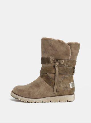 Béžové dámské zimní boty s umělým kožíškem s.Oliver