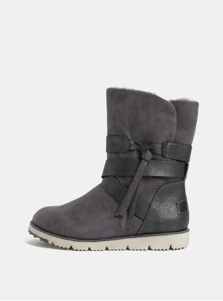 Šedé dámské zimní boty s umělým kožíškem s.Oliver