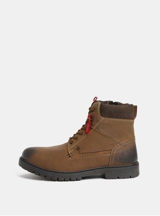 Hnědé pánské kožené kotníkové zimní boty s.Oliver