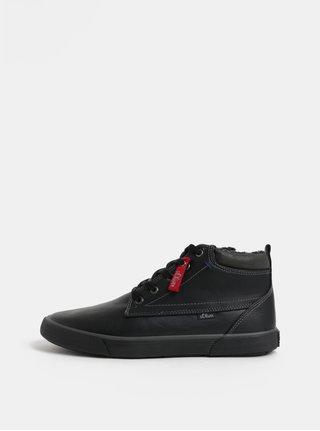 Černé pánské kotníkové zimní boty s umělým kožíškem s.Oliver