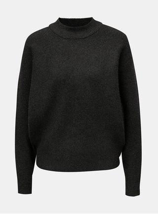 Tmavosivý voľný sveter s netopierími rukávmi Apricot