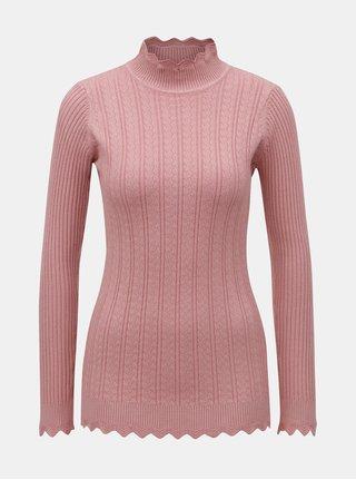 Ružový sveter s rolákom Apricot