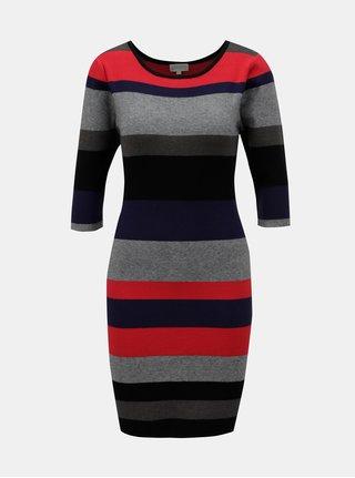 Červeno-šedé pruhované pouzdrové šaty Apricot
