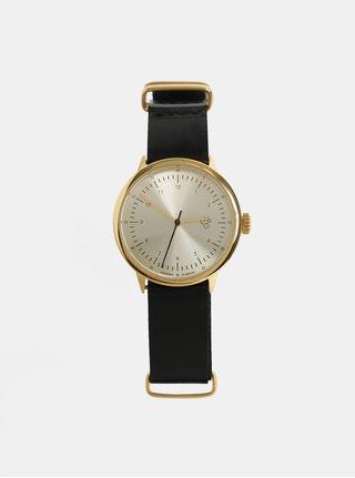 Ceas de dama cu curea neagra din piele CHPO Harold Mini Gold