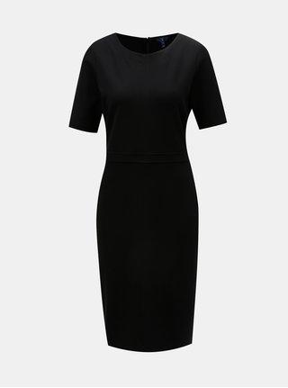 Černé pouzdrové šaty s krátkým rukávem GANT