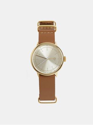 Dámske hodinky s hnedým koženým remienkom CHPO Harold Mini Gold