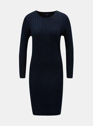 Tmavomodré svetrové šaty s dlhým rukávom GANT