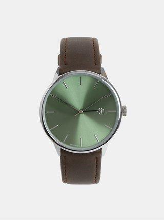 Unisex hodinky s hnedým remienkom z vegánskej kože CHPO Khorshid Olive Metal