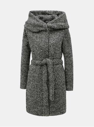 Sivý melírovaný kabát s veľkou kapucňou a prímesou vlny VILA