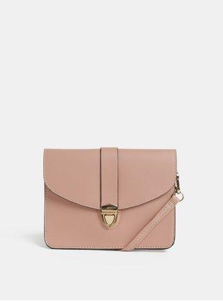 Světle růžová crossbody kabelka se zapínáním ve zlaté barvě Dorothy Perkins