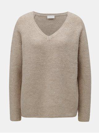 Béžový oversize sveter s prímesou vlny VILA