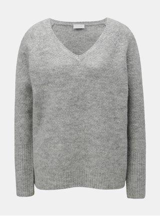 Pulover gri melanj oversize cu amestec de lana VILA
