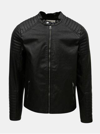Jacheta neagra din piele sintetica Jack & Jones Punch
