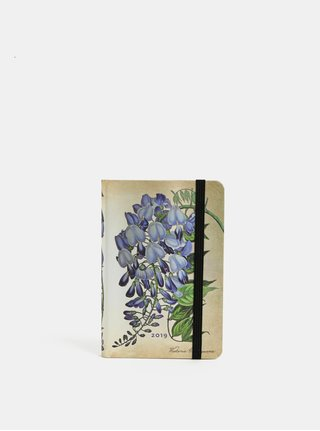 Agenda saptamanala 2019 mini bej-albastru Paperblanks Blooming Wisteria