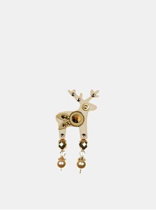 Béžová malá brošňa s brúseným zdobením Preciosa Components Deers