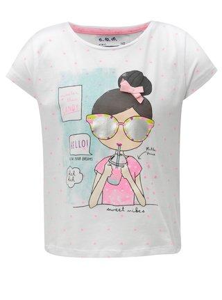 Biele dievčenské tričko s trblietavou potlačou 5.10.15.
