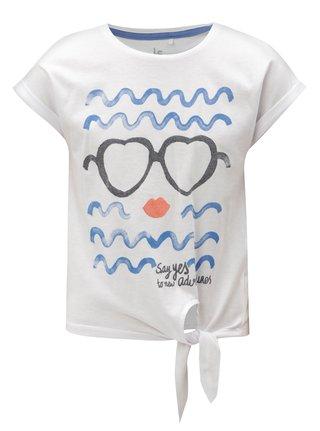 Biele dievčenské tričko s uzlom a potlačou 5.10.15.