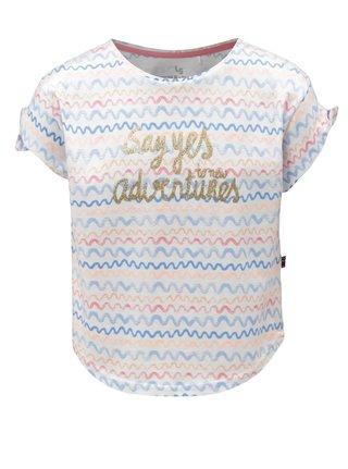 Biele dievčenské tričko s motívom vĺn a potlačou 5.10.15.