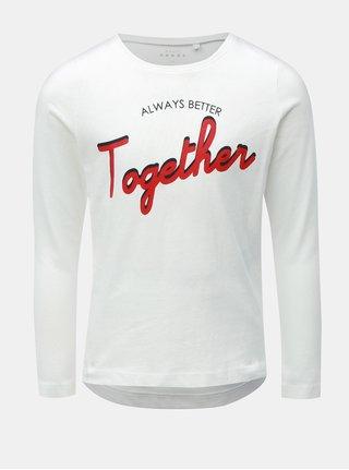 Biele dievčenské tričko s dlhým rukávom Name it