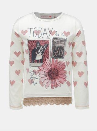 Ružovo-biele dievčenské tričko s čipkou BÓBOLI