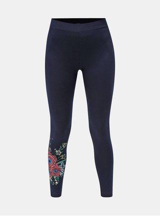 Leggings albastru inchis cu print floral Desigual Sol