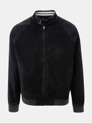 Jacheta lejera albastru inchis din material reiat Burton Menswear London Cord Harrington