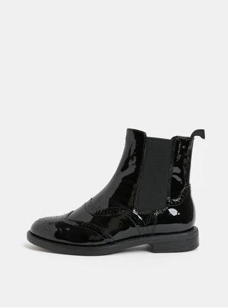 Černé dámské kožené chelsea boty s brogue zdobením Vagabond Amina